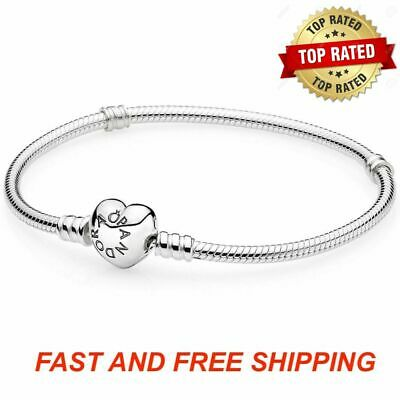 Authentic Pandora Bracelet HEART Clasp 925 Sterling Silver All Sizes  #590719