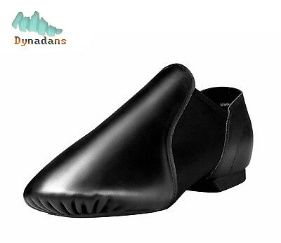 Dynadans Slip On Jazz Dance Shoes,Child or Adult,Genuine Leather,Black and Tan