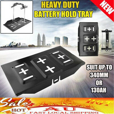 New CAR BATTERY TRAY HOLD DOWN KIT DUAL DEEP CYCLE UNIVERSAL 135mm-190mm Width