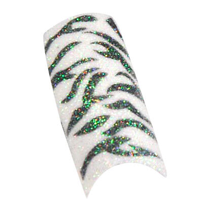 100pcs Black White Zebra Design Tips Glitter Acrylic False Nail Tips L2Y5
