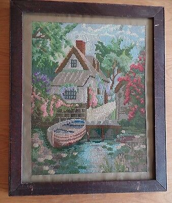 Antique Cross Stitch Tapestry Riverside/cottage Garden Framed / Glass