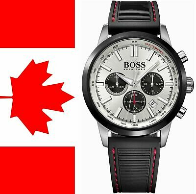 Hugo Boss HB1513185 RACING Silver dial 44mm Rubber Strap Chronograph Mens Watch