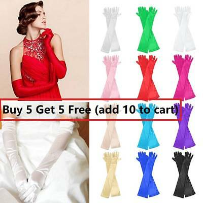 "22"" Long Satin Costume Bridal Evening Party Prom Wedding Womens Ladies Gloves AU"