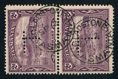 """TASMANIA • 2 x CDS Postmarks on pair of 2d Pictorials • GLADSTONE / Perf """"T"""""""