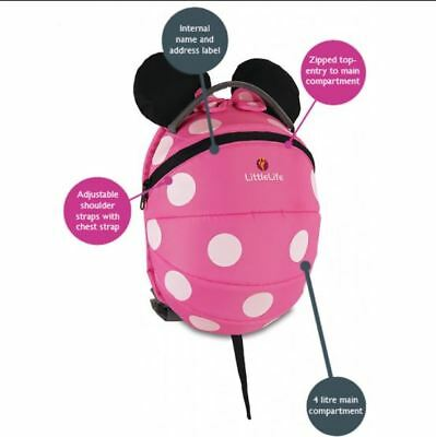 LittleLife Disney Pink Minnie Mouse Toddler Backpack Bag with Reins