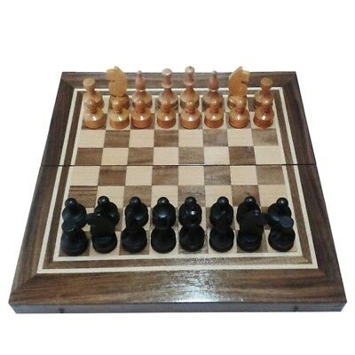 2 in1 Hand Made Wooden Chess set and Backgammon Board Walnut / Ash tree 34/34cm.