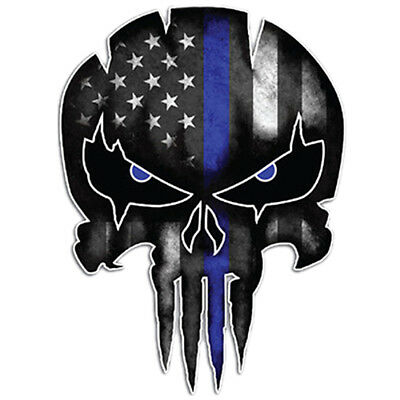 Car Stickers Blue Punisher Skull Reflective Custom Motorcycle Decals 9.5 X 13 CM