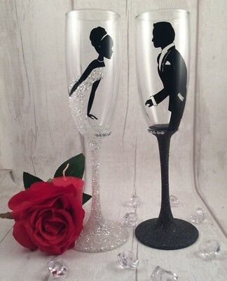 Personalised Glitter Wedding Toasting Flutes - Champagne Glasses - Bride & Groom