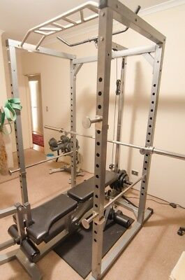 Complete power rack package w/ adjustable bench, barbell, weights & weight rack