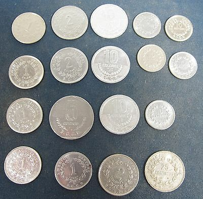 18 Old Costa Rica coins, Dating to the 1950's