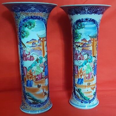 Good & large pair of early 19th century Chinese Mandarin pattern porcelain vases