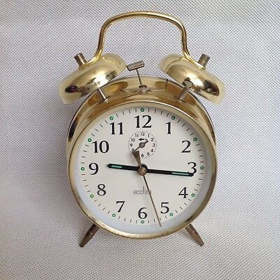 Acctim Gold Traditional Wind Up Bell Alarm Clock Retro Design Tested and Working