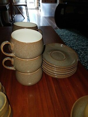 Denby Greystone Cups And Saucers X 5 Stoneware