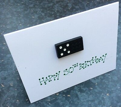 50th Fiftieth Birthday card 3D Handmade Domino (20th 30th 40th 6th )
