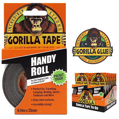 """Gorilla Tape Handy Roll Tape by Gorilla Glue Strong Duct Tape To Go 1"""" wide x 9m"""