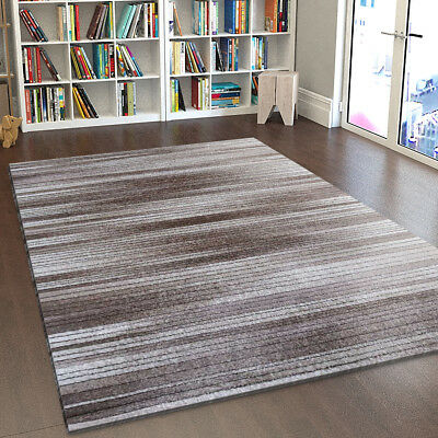 Modern Rug Striped Brown Beige Cream Low Pile Mat Small