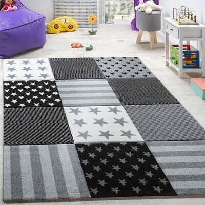 Grey Nursery Rug Star Pattern Check Children Bedroom Play Room Soft Carpet Mat