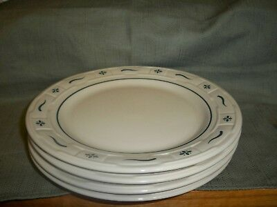 "Longaberger Pottery Woven Traditions Heritage Green 10"" Dinner Plates 4 - USA"