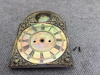 Antique brass grandfather grand father  longcase clock face