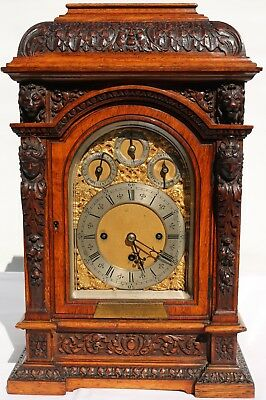 Triple Fusee Miniature Oak Gothic Deadbeat Regulator 8 Bell Bracket Watch Video