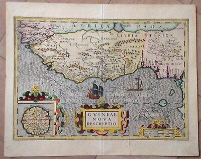 Guinea 1623 Mercator Hondius Large Nice Antique Engraved Map 17Th Century