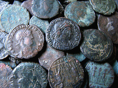 Lot of 2,450 g.(1,820+ coins) Mix of Ancient Bronze Roman Byzantine See