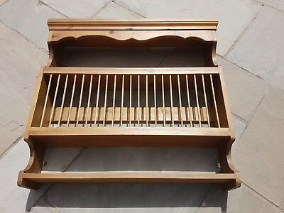 Farmhouse Large Plate Rack and Shelf Unit, holds 22 plates - Solid Antique Pine