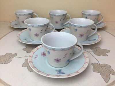 Queens Royal Horticultural Society Rosemoor 6 x Cups & Saucer Mint Condition