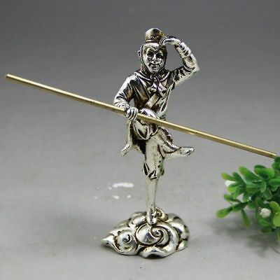 China Antique Tibetan silver hand made fengshui lucky Sun WuKong statue