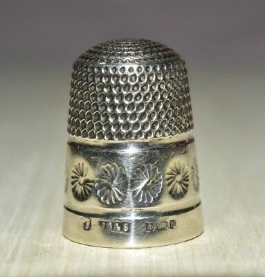 1926 antique sewing THIMBLE silver by JAMES SWANN & Son Size 7