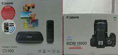CANON EOS 1300D 18-55 IS Spiegelreflexkamera 18MP, WLAN, NFC mit Connect Station
