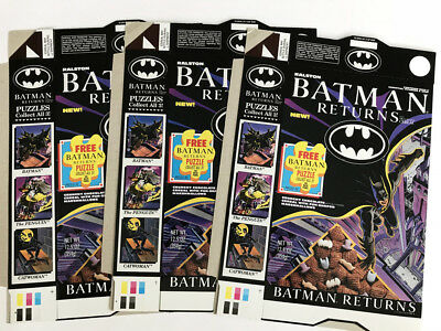 Ralston Batman Returns Cereal Box Unused Flats - Puzzle 3 of 3 - 1992