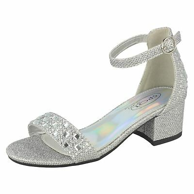 Spot On Girls Glitter Wedding Party Ankle Buckle Strap Heel Sandals H1R101 Sizes