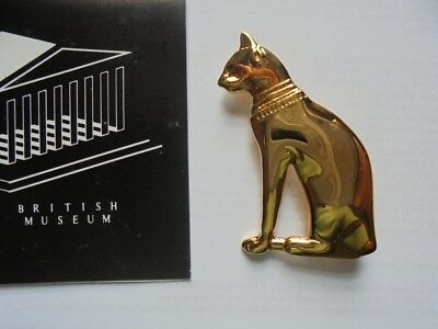 22ct gold plated Egyptian cat brooche. British Museum, London