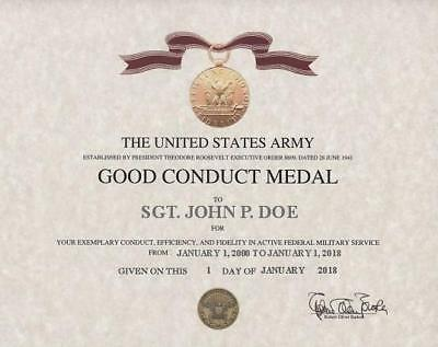 Us Army Good Conduct Medal  Replacement Certificate On 24 Lb Parchment Paper