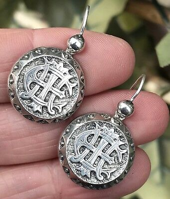 Antique Victorian Amity Eternity Infinity Sterling Silver Sweetheart Earrings