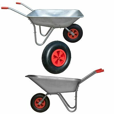 Garden Outdoor Heavy Duty Wheelbarrow Galavanised Steel Pneumatic Tyre Diy