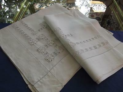 """2 Antique White Pure Linen Tenerife Drawnwork Lace 28""""Sq Toppers / Overlay Shams"""