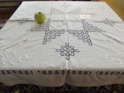 """Vintage White Linen Art Deco Tablecloth Tenerife Drawnwork Lace Embroidered 46"""""""
