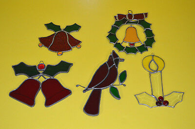 Lot 5 Vintage Stained Glass Leaded Sun Catchers Christmas Ball Wreath Candle