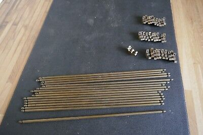 """16 Vintage solid Brass stair rods with brackets 29"""" long 1/2"""" diameter"""