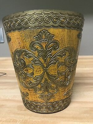 Vintage Florentine Waste Basket Trash Can Italy Gold Yellow Gesso EUC