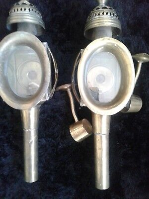 Antique Pair Coach/Carriage Lamps Brass with brackets