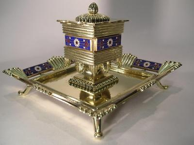 Antique Inkwell. Large French Art Nouveau Champleve Enamel Dore. 19th C. (785)