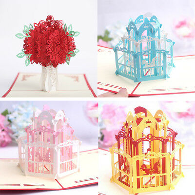 3D Pop Up Rose Flower Handmade Paper Greeting Card Holiday Christmas Gift Fashio