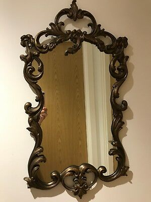 Vintage Rococo Antique French Style Scrolling Gilt Wall Mirror Shabby Chic