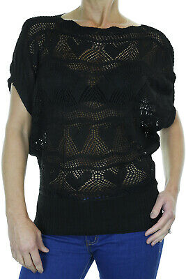 NEW Womens Lightweight Crochet Knit Batwing Winter Fashion Top 8-14