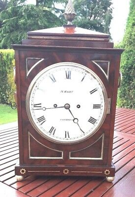 Twin Fusee Mahogany Bracket Clock. 1820 / 30's. 5 Pillar movement. Pull repeat.