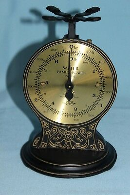 Salter Family Scale Vintage No.46 Brass Face Ornate Base 8# 6 Oz Made in England