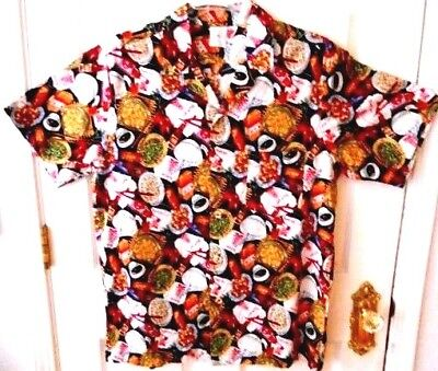 Vintage Asian Food Galore! Made In Usa Mens Xl Short Sleeve Button Down Shirt